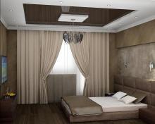 Дизайн штор для спальни с маленькими потолками
